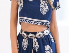 Bohemian Boxy Crop Top Shorts Matching Sets OASAP online fashion store China
