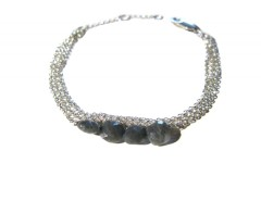 bracelet - sterling silver triple chain & grey quartz Carnet de Mode online fashion store Europe France