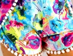 Brightly Hued Print Pom Deco Shorts OASAP online fashion store China