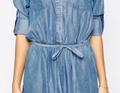 Casual Solid Denim Mini Shirt Dress OASAP online fashion store China