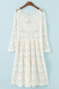 Chic Ivory Sheer Floral Lace Print Dress OASAP online fashion store China
