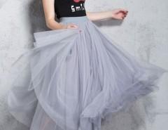 Chic Mesh Layered Skirt Elastic Waist Maxi Skirt OASAP online fashion store China
