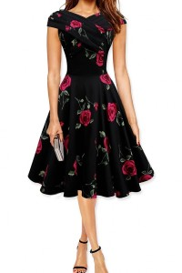 Chic Rose Printing A-line Dress OASAP online fashion store China