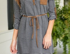 Chic Striped Long Sleeve Cut-out Neck Belted Dress OASAP online fashion store China