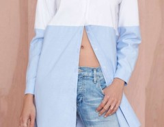 Contrast Collor Swallow Tail Boyfriend Shirt OASAP online fashion store China
