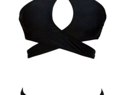 Crossover Halter Neck Hollow-out Black Bikini OASAP online fashion store China