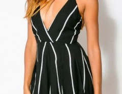 Cute Pinstriped Print Rompers OASAP online fashion store China