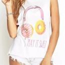 Cute  Print Drop Sleeve Hole Tank Top OASAP online fashion store China