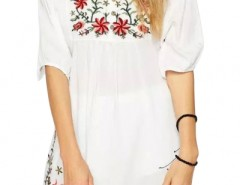Embroidery Floral Loose Dress OASAP online fashion store China