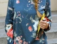Fashion Floral Printing Knit Sweatshirt OASAP online fashion store China