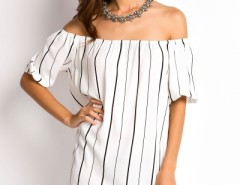 Fashion Pinstriped Print Off-the-Shoulder Dress OASAP online fashion store China