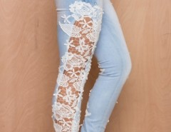 Fashion Wash Lace Paneled Jeans OASAP online fashion store China