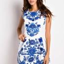 Floral Jacquard Pleated White Skater Tank Dress OASAP online fashion store China