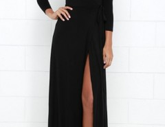 Modern Black High Slit Belted Wrap Dress OASAP online fashion store China