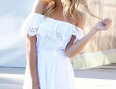 Off-Shoulder Lace-Trim Mini Dress OASAP online fashion store China