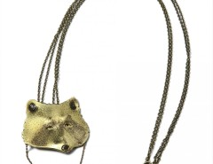pendant-brooch brass necklace - racoon Carnet de Mode online fashion store Europe France