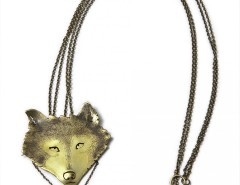 pendant-brooch brass necklace - wolf Carnet de Mode online fashion store Europe France