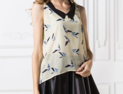 Peter Pan Collar Bird-Print Top OASAP online fashion store China