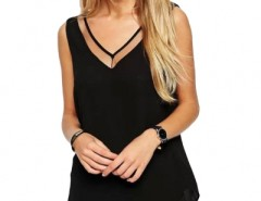 Sexy Paneled Mesh Backless Tee Top OASAP online fashion store China
