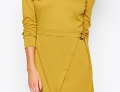 Simple Asymmetrical Style Belted Dress OASAP online fashion store China