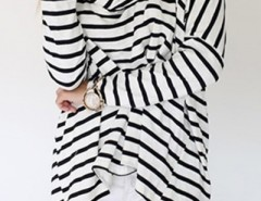 Striped Pattern Scarf Neckline Top OASAP online fashion store China