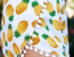 Summer Pineapple Print Tulip Shorts OASAP online fashion store China
