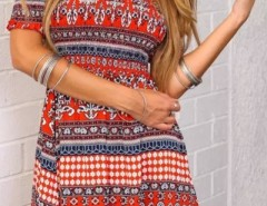 Tribal Geo Print Off-The-Shoulder Mini Dress OASAP online fashion store China