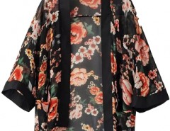 Vintage Floral Open-Front Black Chiffon Kimono Top OASAP online fashion store China