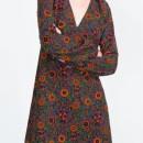 Vintage Floral Print V Neck Lantern Sleeve Dress OASAP online fashion store China