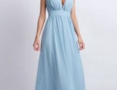 Vintage Plunging V Neckline Back Cut-Out Maxi Chiffon Dress OASAP online fashion store China
