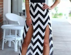 Chevron Spaghetti Straps Splits Cami Dress OASAP online fashion store China